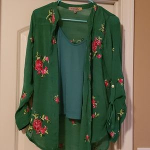 Figuercareflower Green Blouse with cami